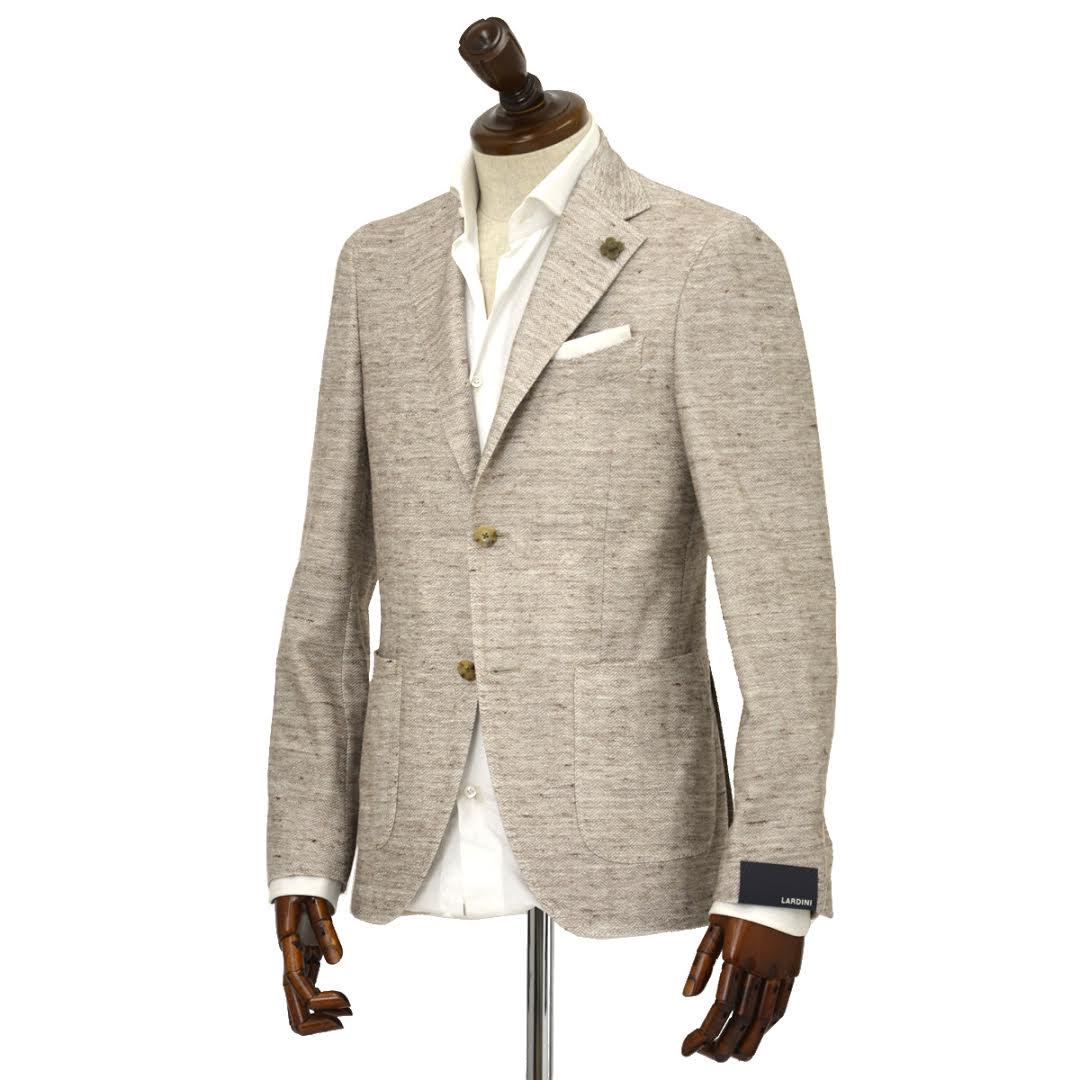 【送料無料】LARDINI【ラルディーニ】 シングルジャケット JM0560AQ EERJ50576/1 コットン リネン ジャージー ホワイト×ブラウン