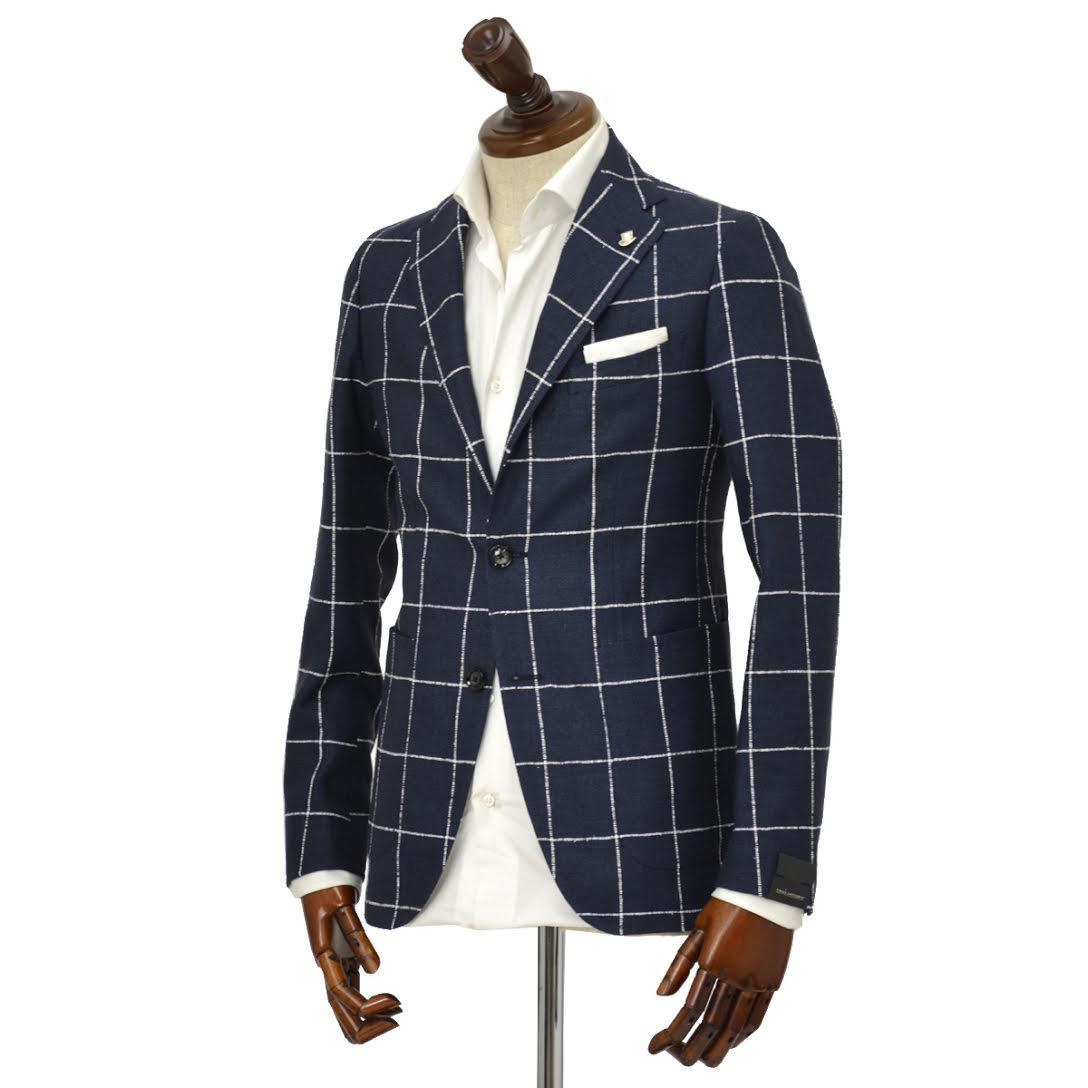 【送料無料】TAGLIATORE【タリアトーレ】シングルジャケット 1SMC22K 85WEG030 B3092 モンテカルロ シルク リネン ウィンドペーン ネイビー×ホワイト