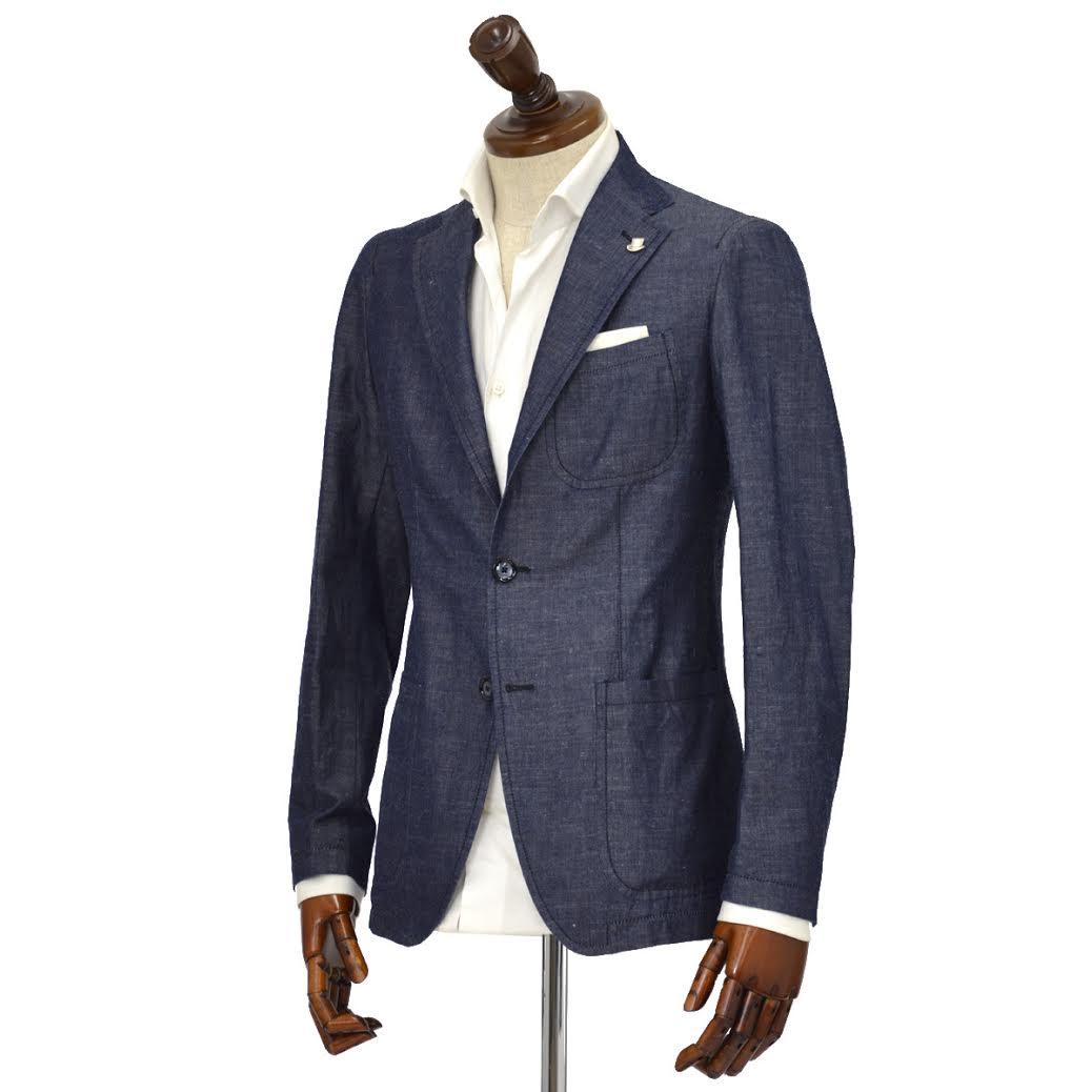 【送料無料】TAGLIATORE【タリアトーレ】シングルジャケット G-SAHARA C6UEL002 B1096 コットン リネン シャンブレー インディゴ