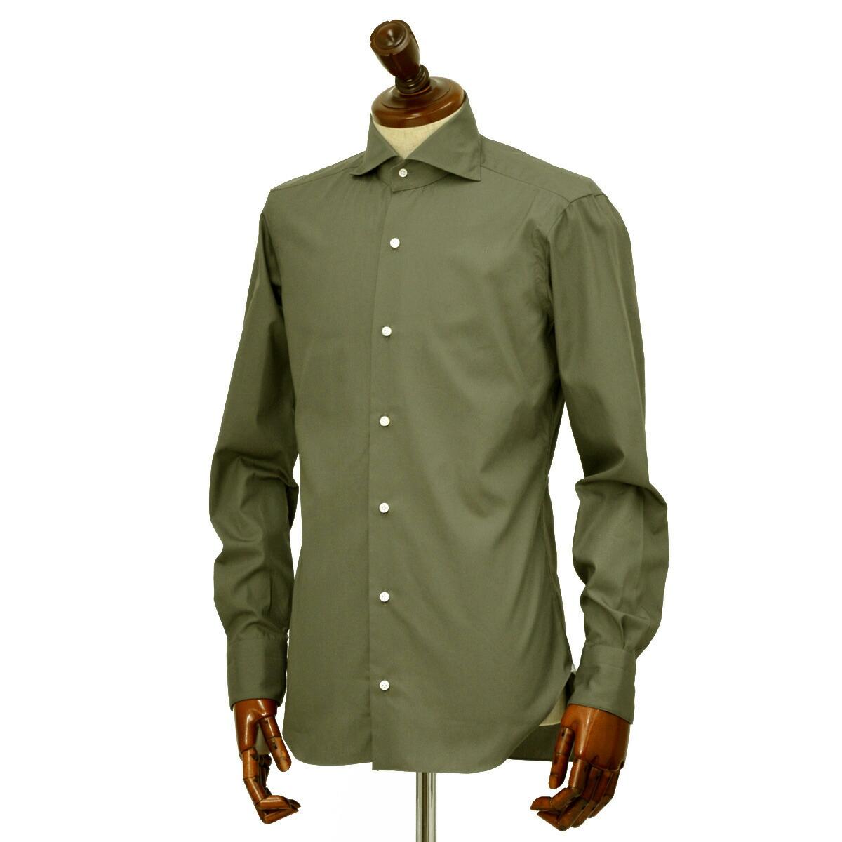 BARBA【バルバ】ドレスシャツ BRUNO I1U262U06278U フラシ コットン ブロード オリーブ