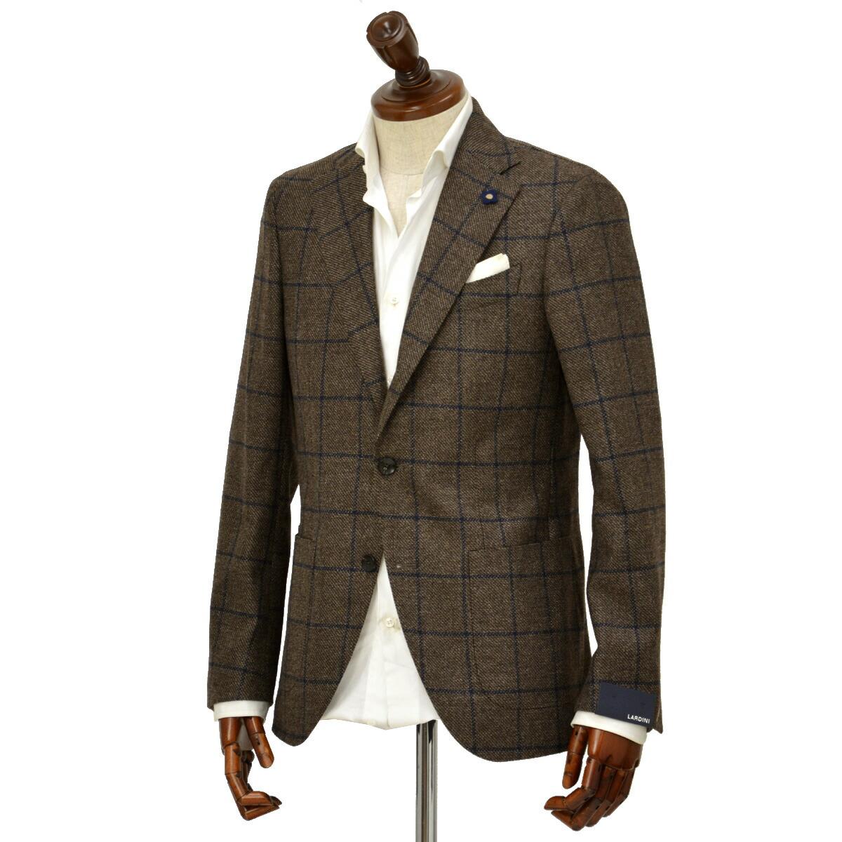 先行販売 早得 【袖修理無料】LARDINI【ラルディーニ】 シングルジャケット JN0526AQ IGRP51592/1 ウール カシミア ウィンドペーン ブラウン×ネイビー