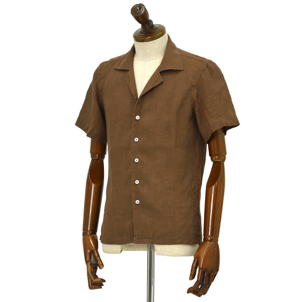 Mario Muscariello【マリオムスカリエッロ】オープンカラーシャツ HONOLULU R2MC0146 リネン ブラウン
