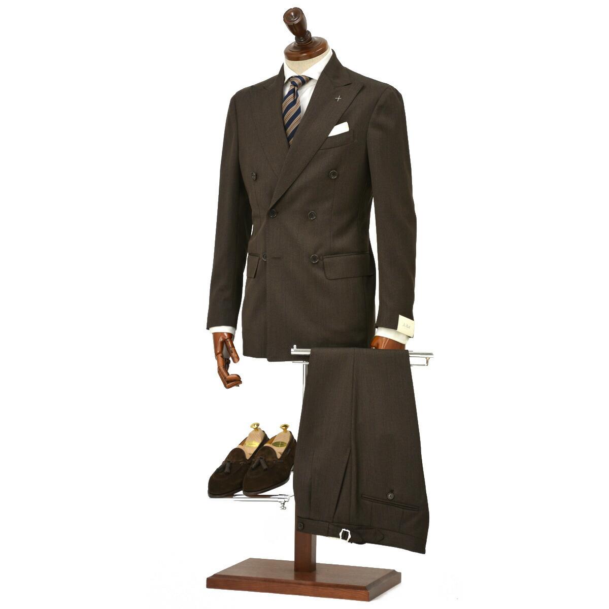 De Petrillo【デ ペトリロ】ダブルスーツ SORRENTO K/C /TW19026/86 ウール キャバルリーツイル ブラウン