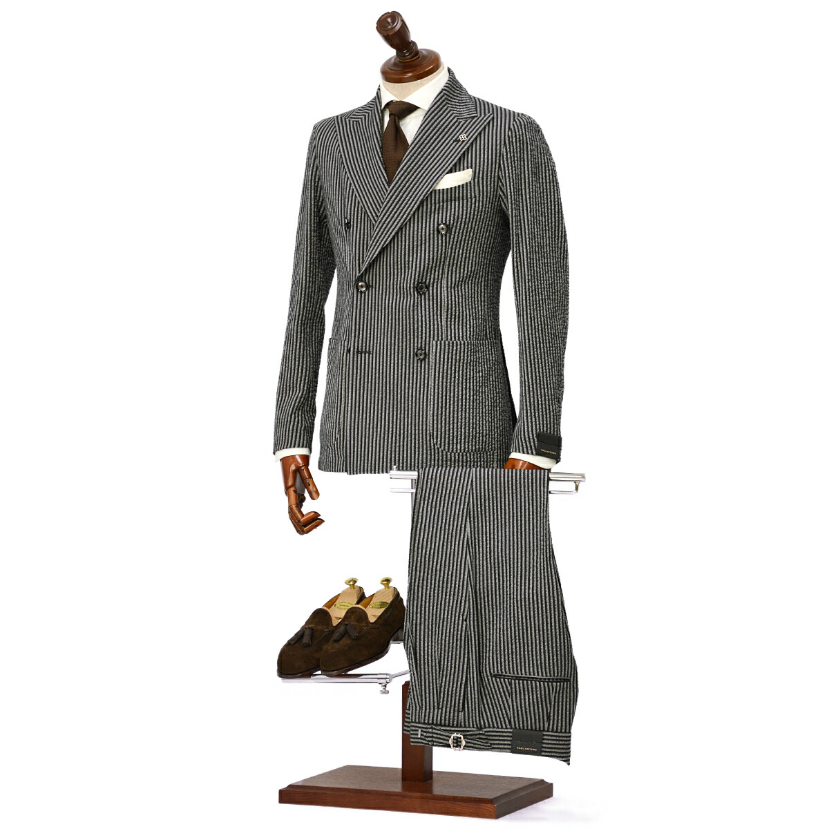 TAGLIATORE【タリアトーレ】ダブルスーツ G-DARREL P-BRENT 23UEZ067 B1104 コットンストレッチ シアサッカー ネイビー×グレー