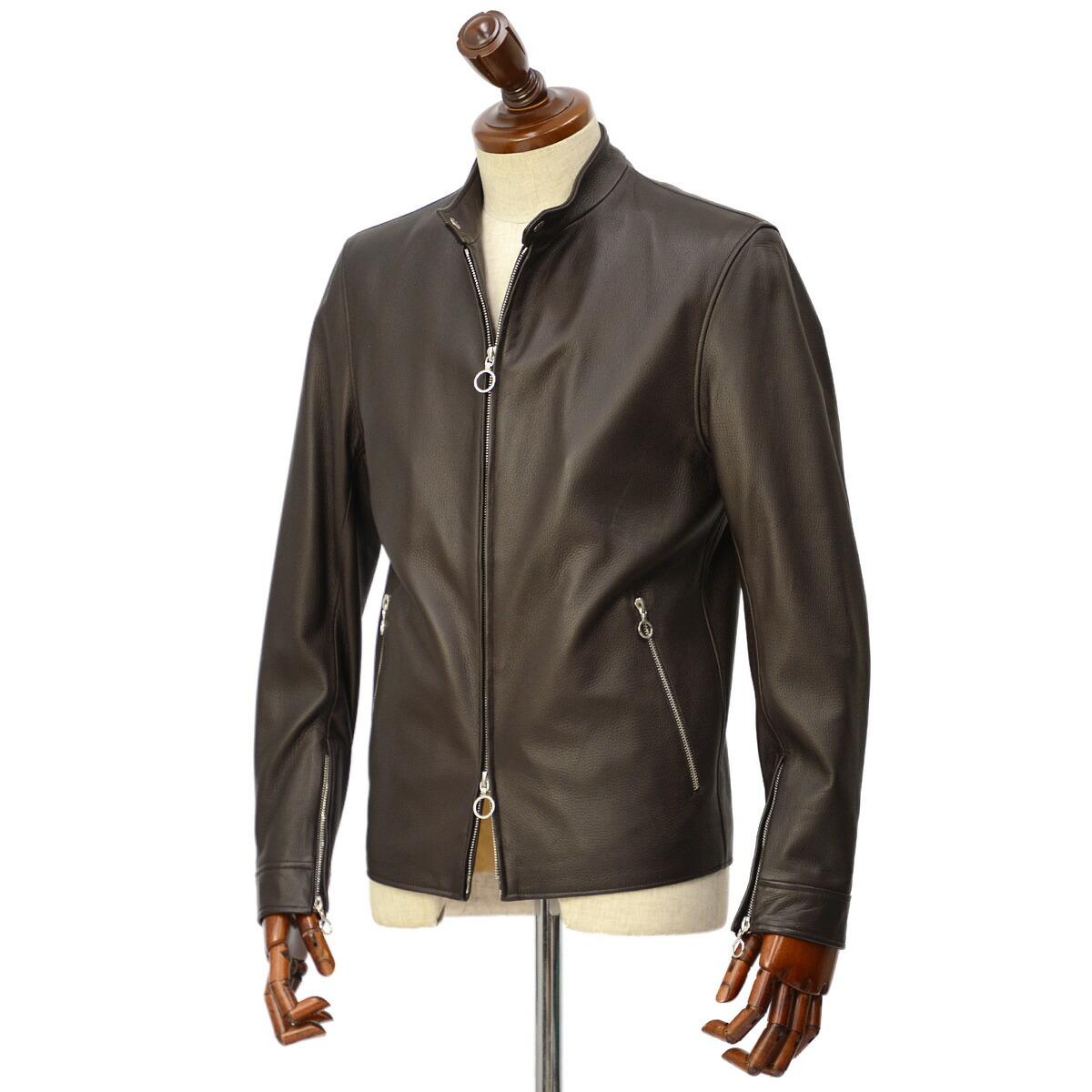 SERAPHIN【セラファン】 シングルライダースジャケット BIKER ANDY 129 00 CERF MARRON ディアスキン ダークブラウン