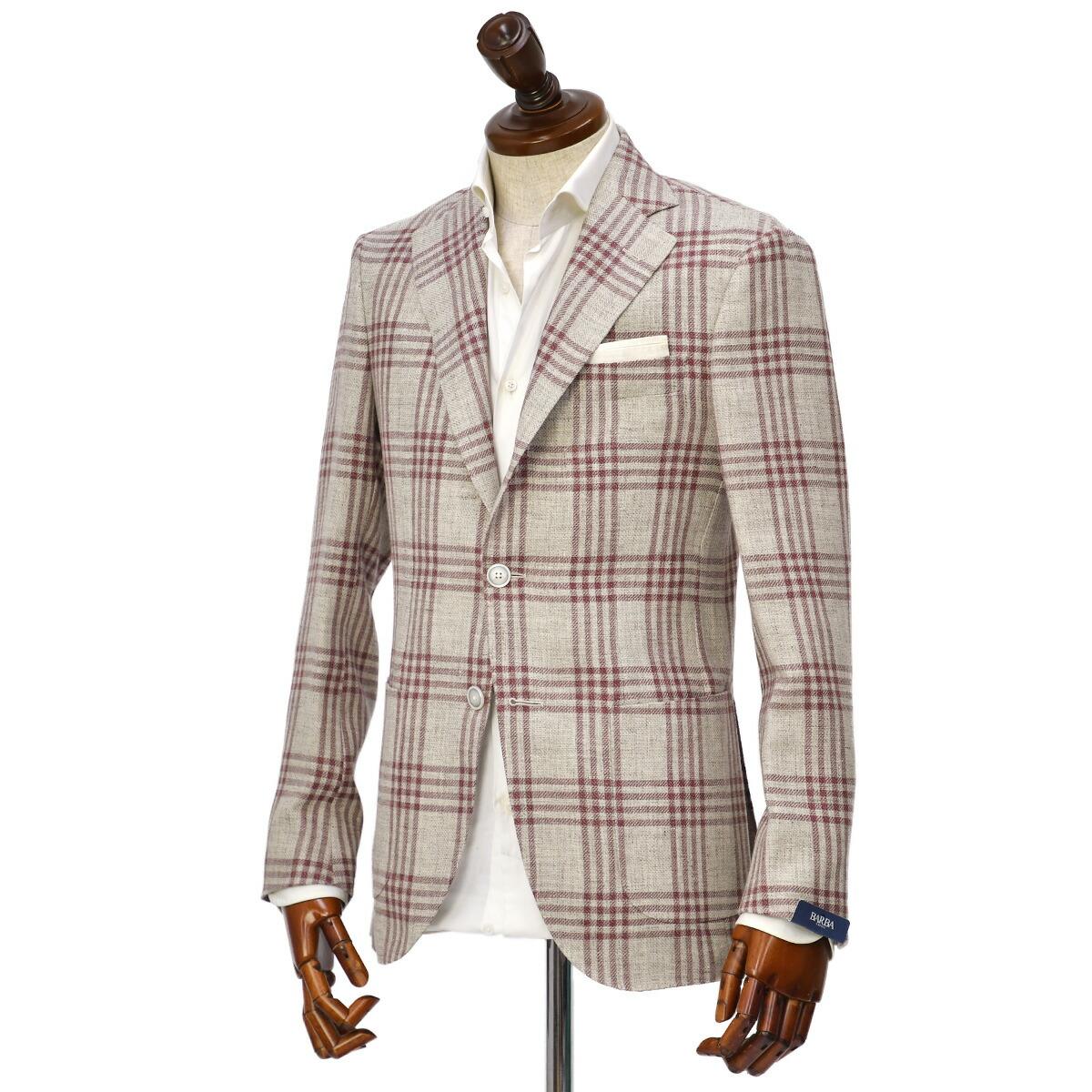 BARBA【バルバ】シングルジャケット GLAR 1218001 リネン ウール チェック アイボリー×ピンク