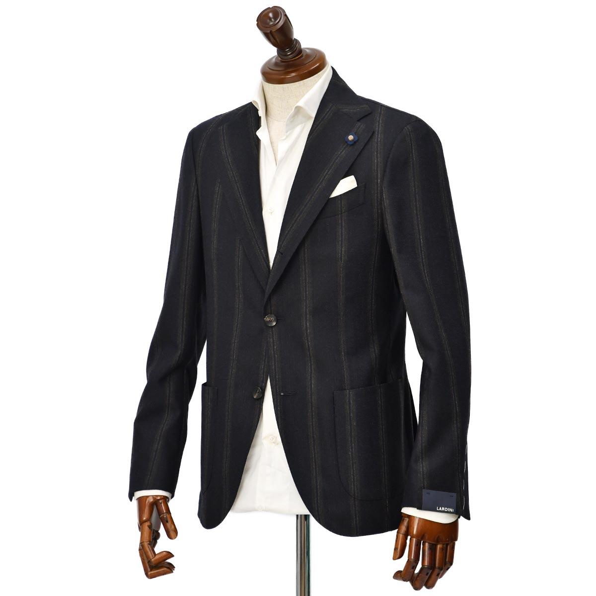 LARDINI【ラルディーニ】 シングルジャケット JS681AQ RP55594/850MA ウール ストライプ ネイビー
