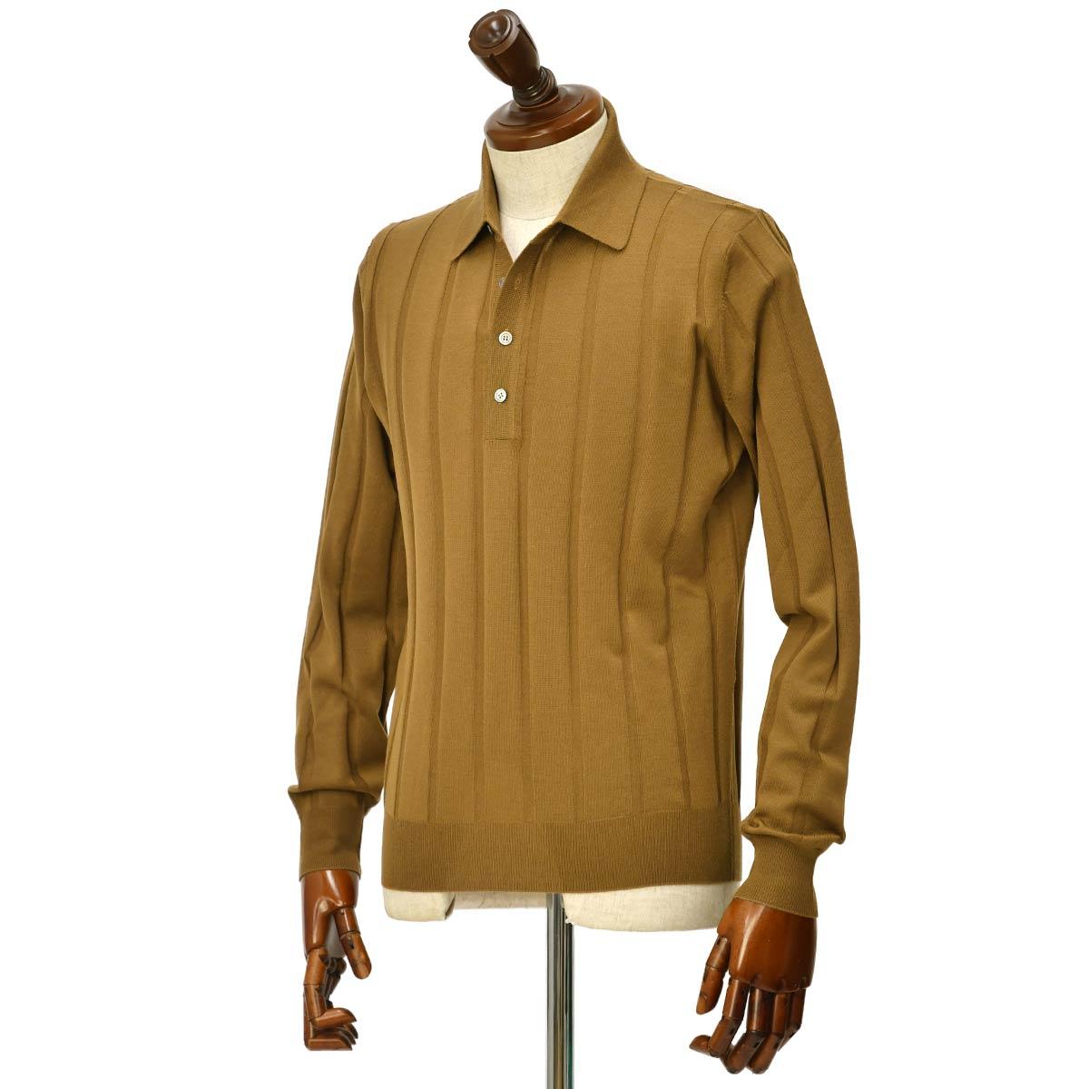 FILIPPO DE LAURENTIIS 【フィリッポ デ ローレンティス】ニットポロシャツ I27661 480 ウール キャメル