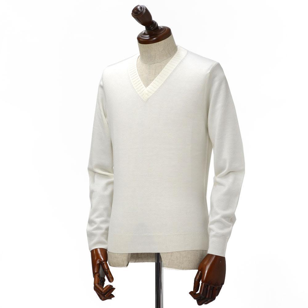 Cruciani【クルチアーニ】【秋冬】Vネックニット CU2700 120A wool WHITE(ウール ホワイト)