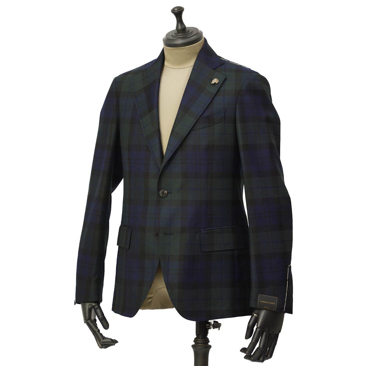 Gabriele Pasini【ガブリエレ パジーニ】シングルジャケット JG14074Q GP14433 10 ウール ブラックウォッチ グリーン ネイビー ブラック
