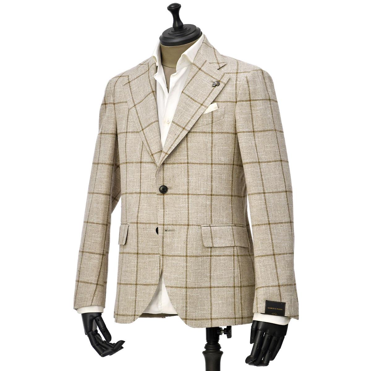 Gabriele Pasini【ガブリエレ パジーニ】シングルジャケット JG16074Q GP161475 3 ウール コットン リネン ウィンドペーン ベージュ