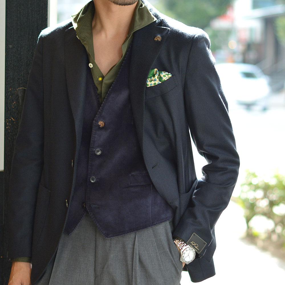 Gabriele Pasini【ガブリエレ パジーニ】シングルジャケット JG90030Q GP9401 140 ウール ネイビー
