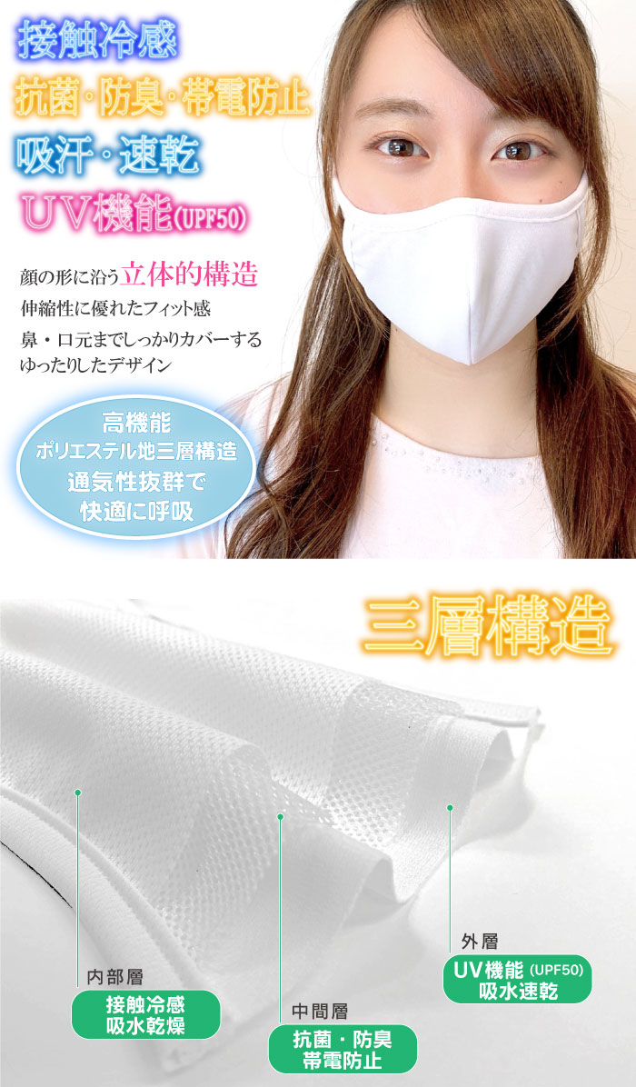 抗菌・防臭・帯電防止、吸汗・速乾、UV機能