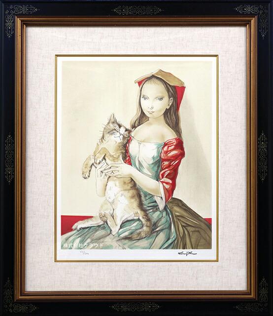 藤田嗣治 猫を抱いた頭巾の少女