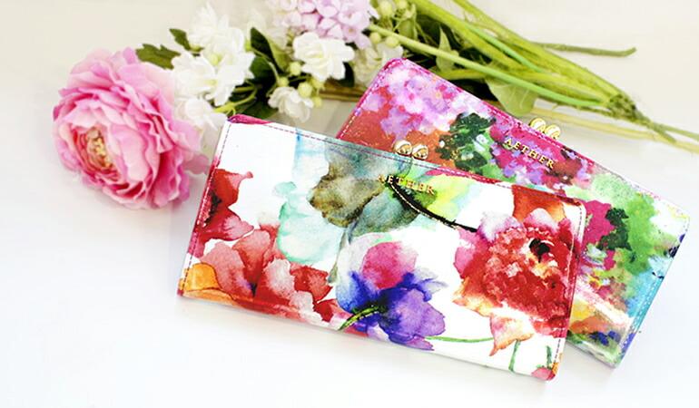 花柄のがま口長財布