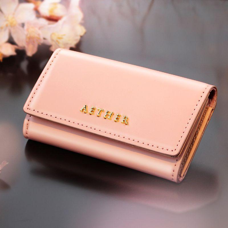 aether 桜色コードバンレザー・キーケース