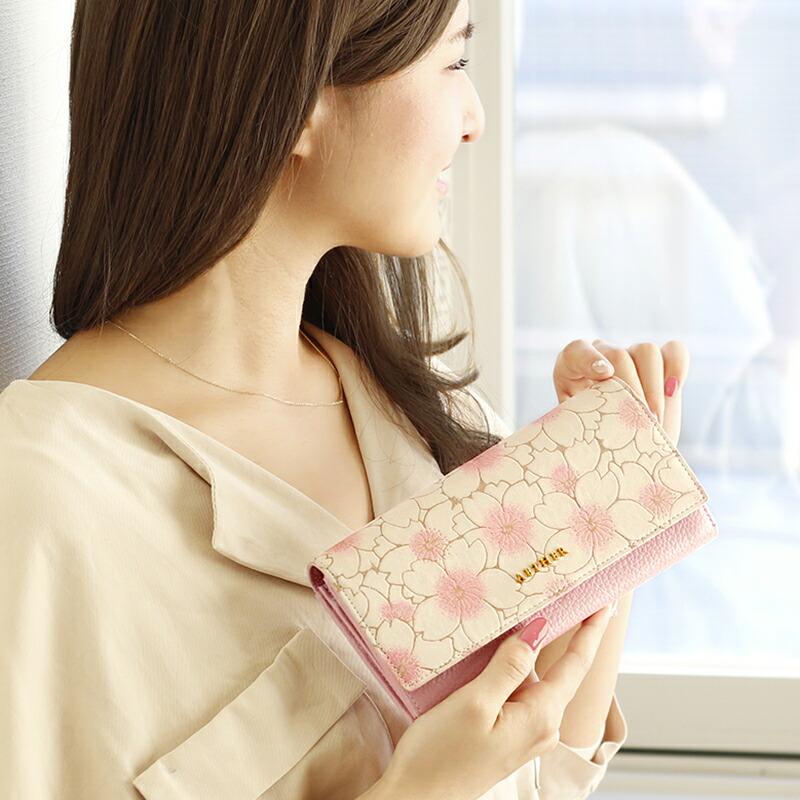 エーテル 桜柄が大人かわいいかぶせ長財布 サクラ・ジャルダン