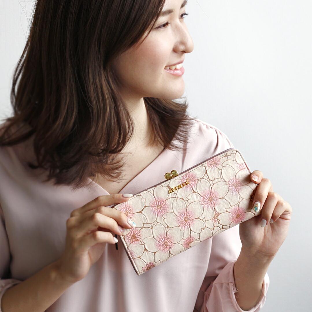 桜のがま口長財布