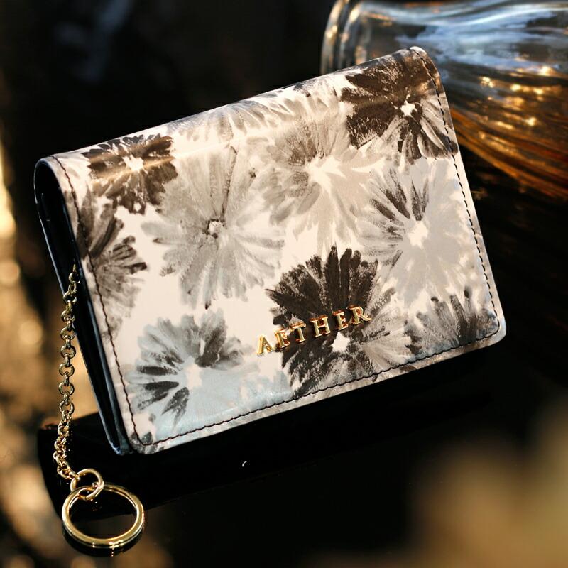 エーテル モノクロの花柄がかわいいキーリング付き本革小銭入れ