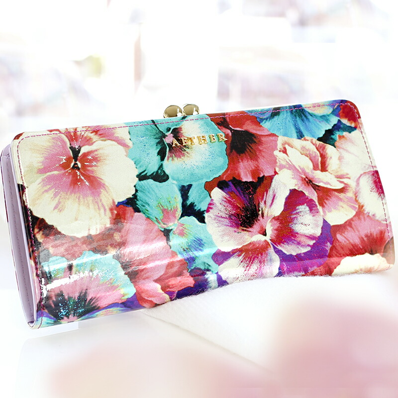 エーテル パンジーがかわいらしい花柄のがま口長財布