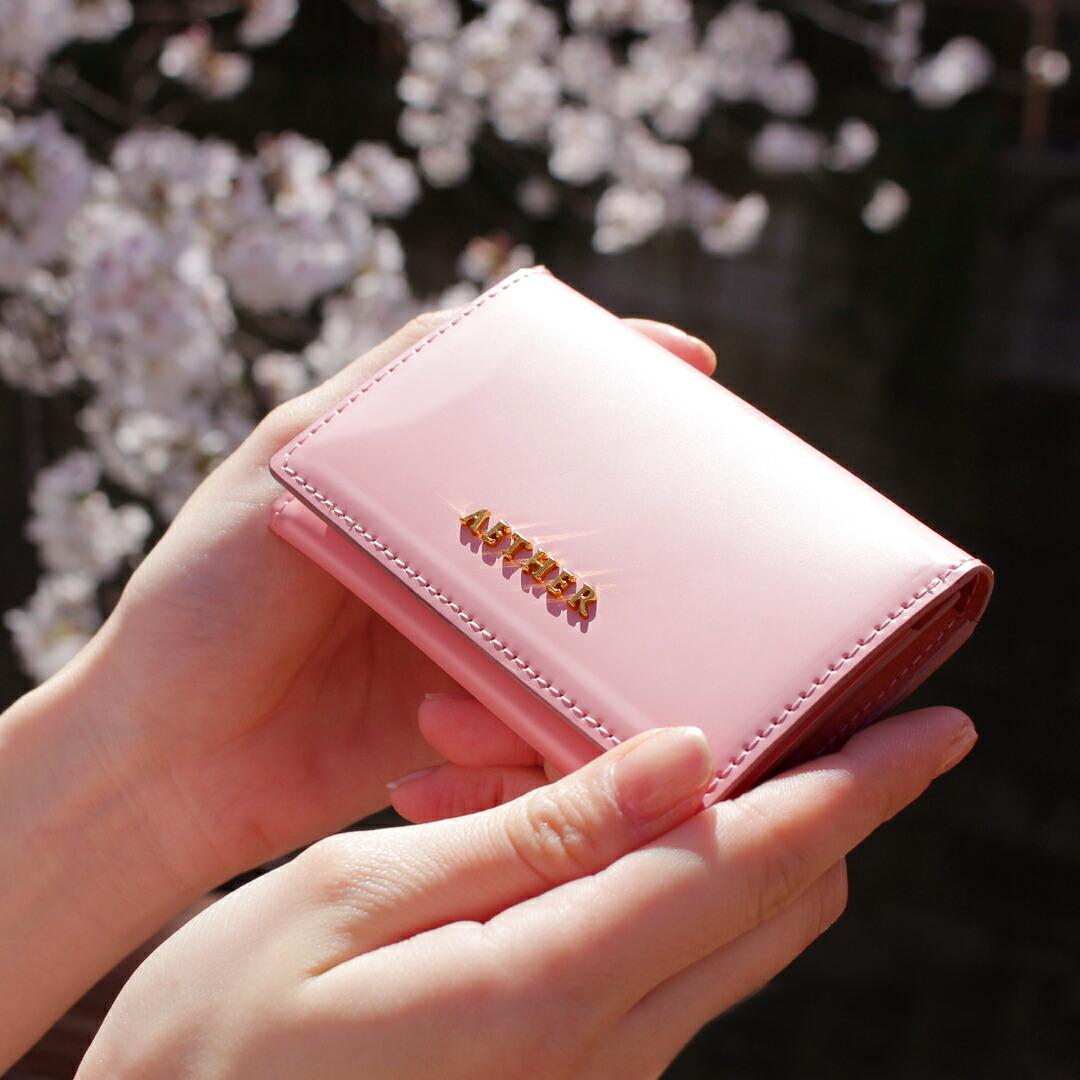エーテル 桜色のコードバンレザーを使用したレディースカードケース