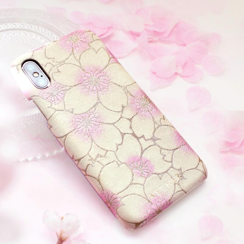 ヌバックレザー・iPhoneX/XSケース「サクラ・シュシュ」