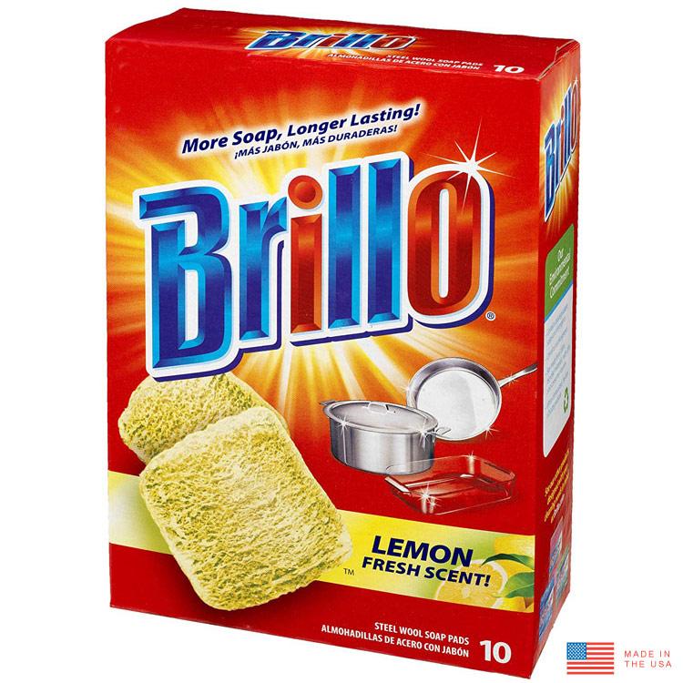 Brillo ブリロ スチールウールソープパッド 10個入り レモンの香り(石鹸付き万能たわし) 磨き 洗剤 台所用洗剤 日用品 アメリカ雑貨
