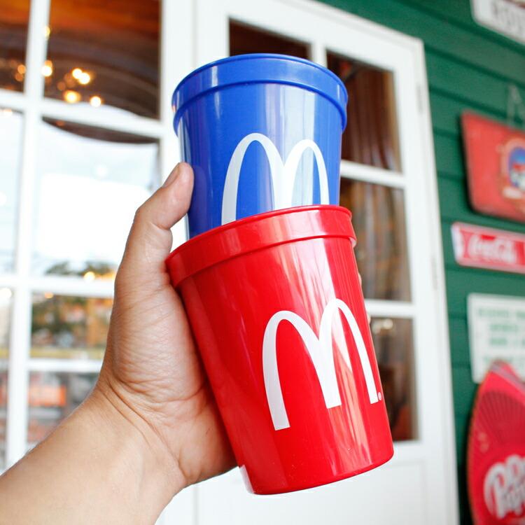 プラカップ マクドナルド プラスチックカップ ブルー&レッド 2個セット 食器 コップ McDonald's アメリカ雑貨 アメリカン雑貨