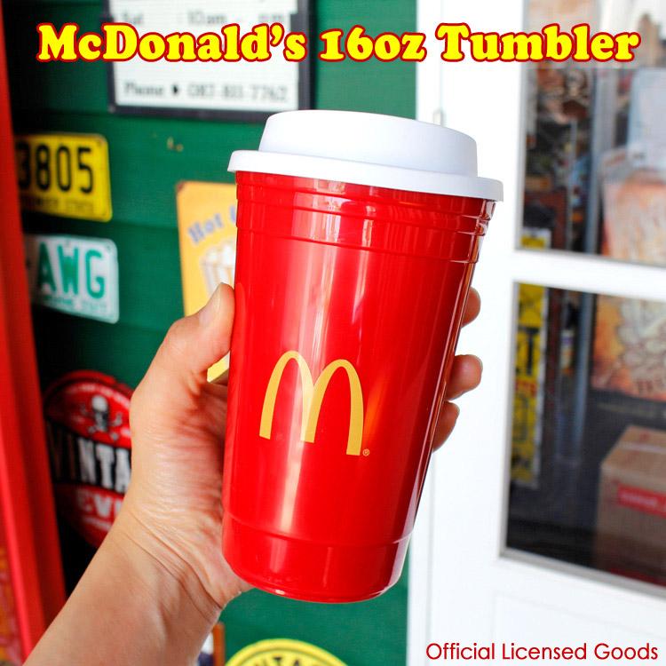 タンブラー マクドナルド トラベルマグ 16oz H16.5cm McDonald's 北米マクドナルド オフィシャルグッズ アメリカ雑貨 アメリカン雑貨