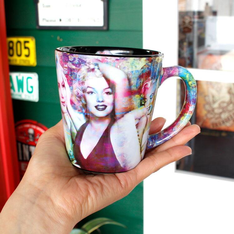 マグカップ マリリン・モンロー 12oz 355ml Colorful Collage Latte (Y5591) コーヒー ティーカップ アメリカ雑貨 アメリカン雑貨