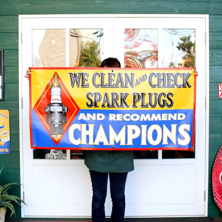ガレージバナー CHAMPION チャンピオン 縦60×横120cm セールスバナー タペストリー 壁面ディスプレー アメリカ雑貨 アメリカン雑貨