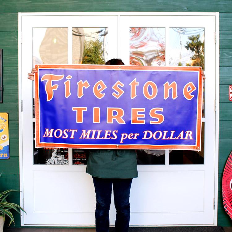 ガレージバナー Firestone ファイヤーストーン 縦60×横120cm セールスバナー タペストリー 壁面ディスプレー アメリカ雑貨 アメリカン雑貨