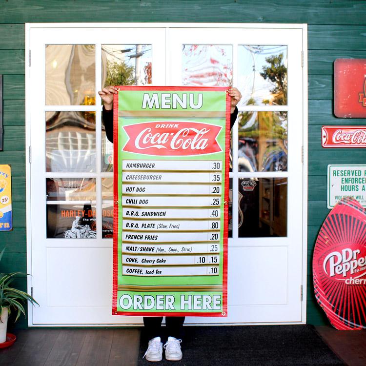 ガレージバナー Coca-Cola Menu コカコーラメニュー 縦120×横60cm セールスバナー タペストリー 壁面ディスプレー アメリカ雑貨 アメリカン雑貨