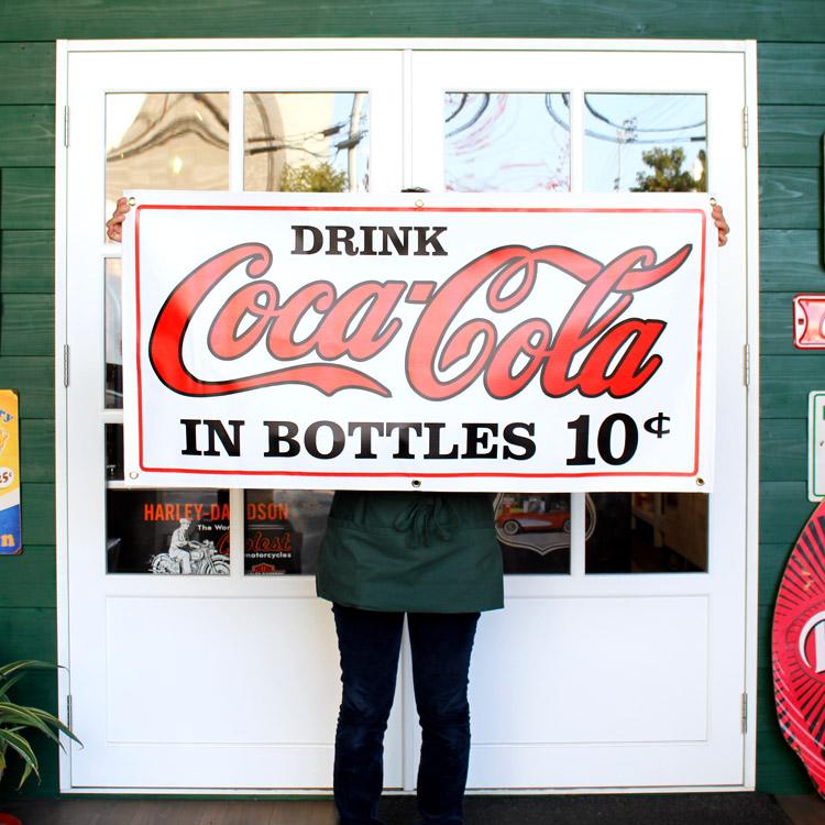 ガレージバナー Coca-Cola 10¢ コカコーラ 10セント 縦60×横120cm セールスバナー タペストリー 壁面ディスプレー アメリカ雑貨 アメリカン雑貨