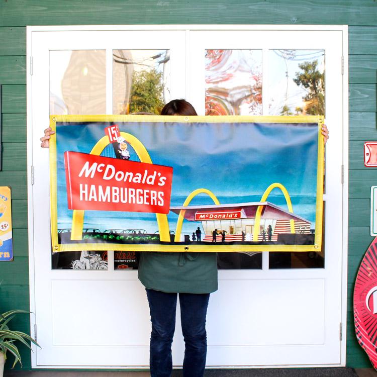 ガレージバナー McDonald's Hamburger マクドナルド ハンバーガー 縦60×横120cm セールスバナー タペストリー 壁面ディスプレー アメリカ雑貨 アメリカン雑貨