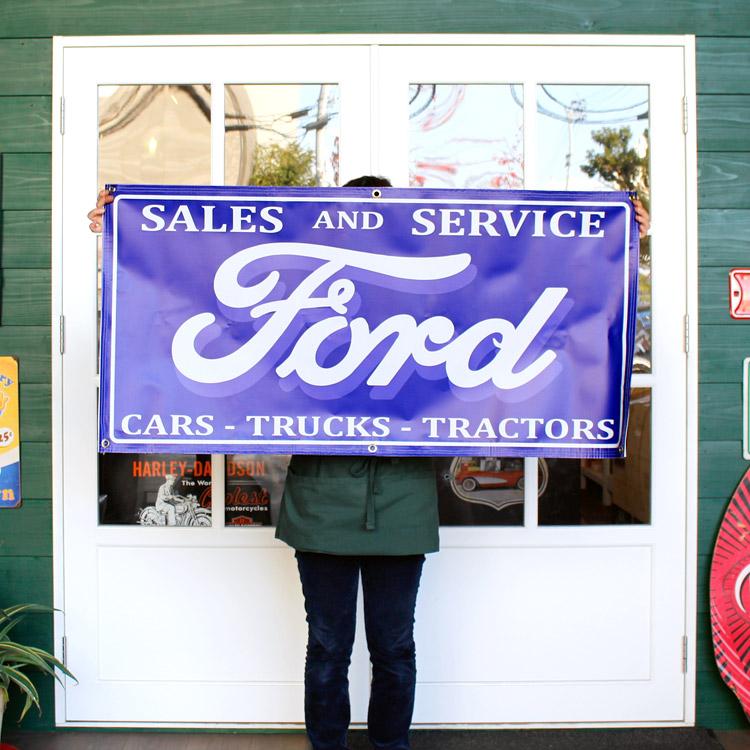 ガレージバナー FORD SALES AND SERVICE フォードセールス 縦60×横120cm セールスバナー タペストリー 壁面ディスプレー アメリカ雑貨 アメリカン雑貨
