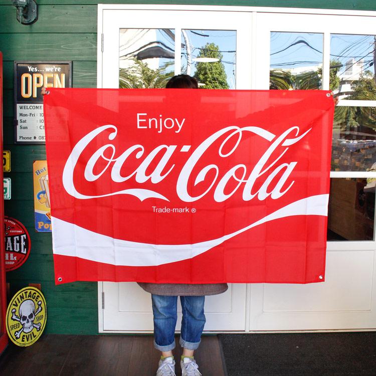 コカ・コーラブランド ファブリックサイン W130×H90cm PJ-FS01 COCA-COLA 旗 フラッグ タペストリー アメリカ雑貨