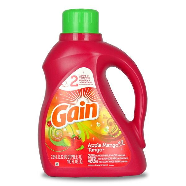 GAIN ゲイン洗濯洗剤 液体 アップルマンゴタンゴ 48回分(100oz 2.95L) 【輸入洗剤、アメリカ製、P&G】