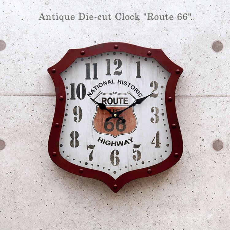 時計 壁掛け アンティークダイカットクロック Route 66 ルート66 HLCK152 サイズ:H40×W36cm レトロインテリア アメリカ雑貨 アメリカン雑貨