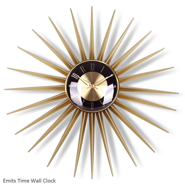 Emits Time エミッツタイム 直径60cm /サンバーストクロック/壁掛け時計/ミッドセンチュリー/アメリカン雑貨/