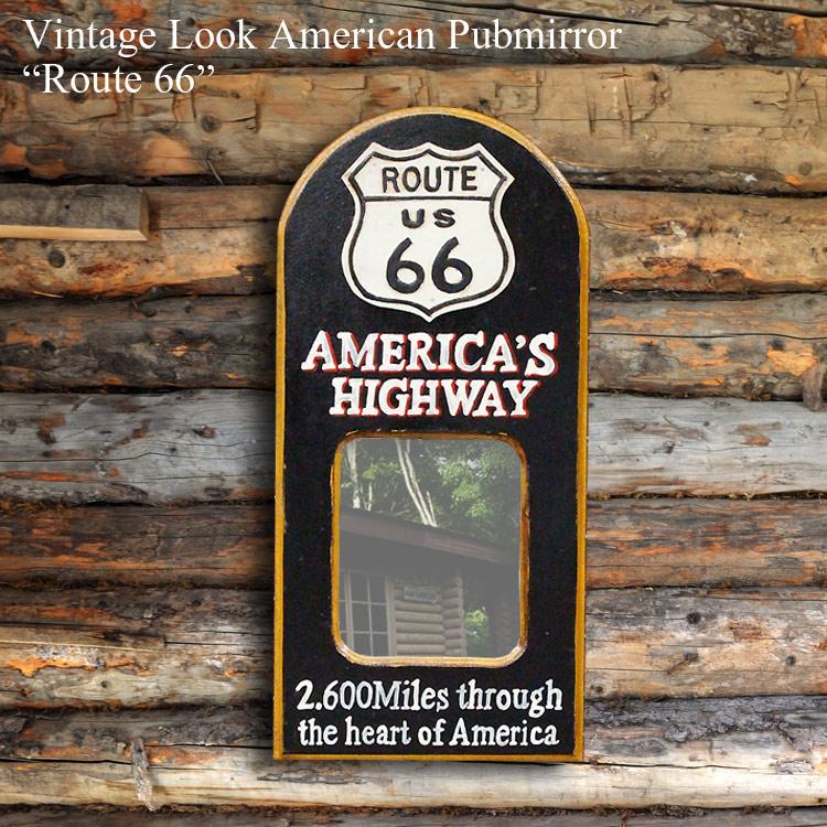 Route66 ルート66 木製パブサインミラー(鏡サイズH20×W16cm) BAR レトロ パブミラー アメリカ雑貨 アメリカ雑貨 アメリカン雑貨