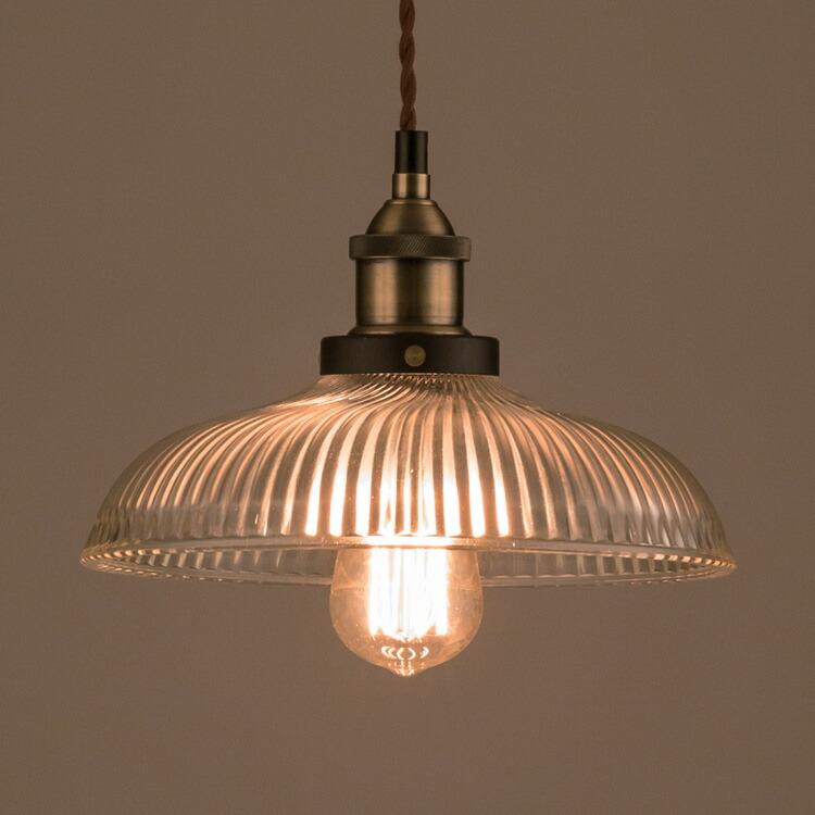 照明器具 ペンダントライト 吊り下げ おしゃれ エジソン電球付きランプ ガラスシェード ラウンド 直径25.5cm レトロ エジソンバルブ 60W シェードランプ アメリカ雑貨 アメリカン雑貨