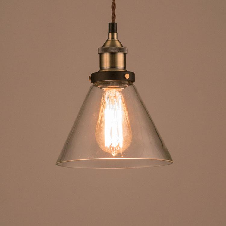照明器具 ペンダントライト 吊り下げ おしゃれ エジソン電球付きランプ ガラスシェード 円錐タイプ レトロ エジソンバルブ 60W シェードランプ アメリカ雑貨 アメリカン雑貨