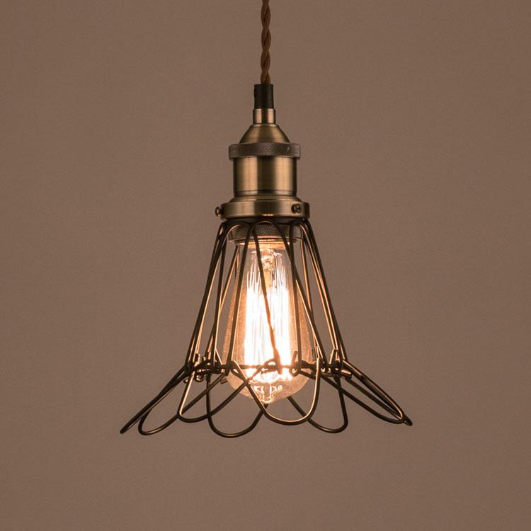 照明器具 ペンダントライト 吊り下げ おしゃれ エジソン電球付きランプ レトロ ワイヤーフレーム レトロ エジソンバルブ 60W シェードランプ アメリカ雑貨 アメリカン雑貨