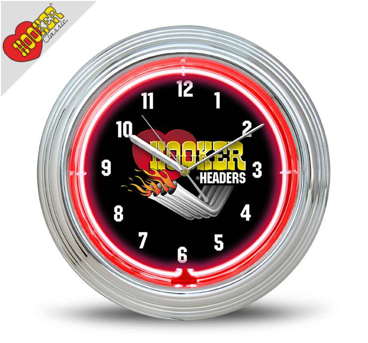 壁掛け時計 ネオンクロック HOOKER HEADERS フッカーへダース アメ車 ガレージ ネオン管 アメリカ雑貨