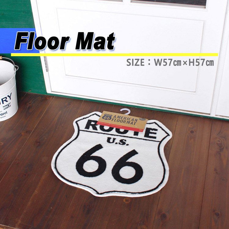 マット アメリカンフロアマット Route 66 WHITE H57×W57cm ルート66 ホワイト アクリル製 裏側すべり止め加工 玄関マット アメリカン雑貨