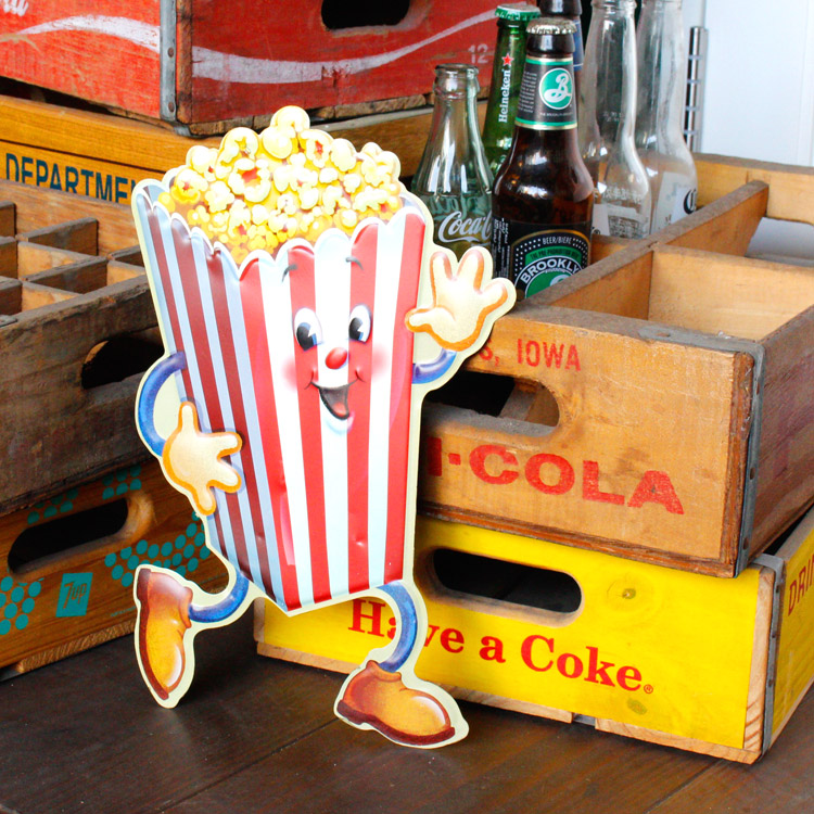 ダイカットメタルサイン Popcorn Man ポップコーンマン 縦34×横24cm ブリキ看板 インテリア アメリカ雑貨 アメリカン雑貨