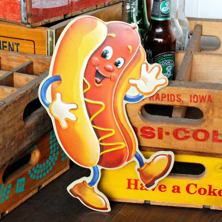 ダイカットメタルサイン HOTDOG MAN ホットドッグマン 縦33×横23cm ブリキ看板 インテリア アメリカ雑貨 アメリカン雑貨