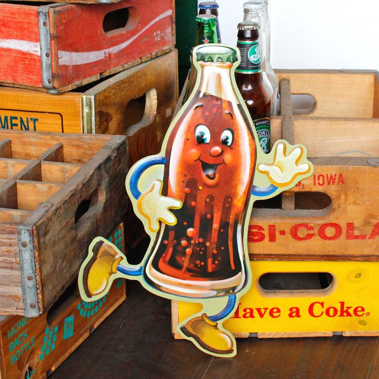ダイカットメタルサイン COLA MAN コーラマン 縦36×横23cm ブリキ看板 インテリア アメリカ雑貨 アメリカン雑貨