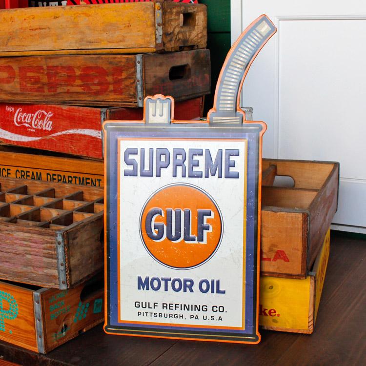 ダイカットメタルサイン Gulf Supreme ガルフ シュプリーム 縦55×横27cm ブリキ看板 インテリア アメリカ雑貨 アメリカン雑貨
